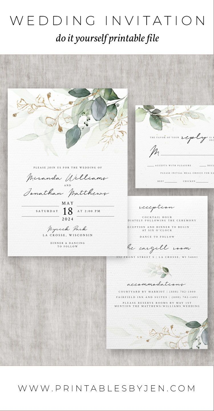 Wedding Invitation Set Template Eucalyptus Bohemian Etsy Wedding Invitation Sets Free Wedding Invitation Templates Free Wedding Invitations