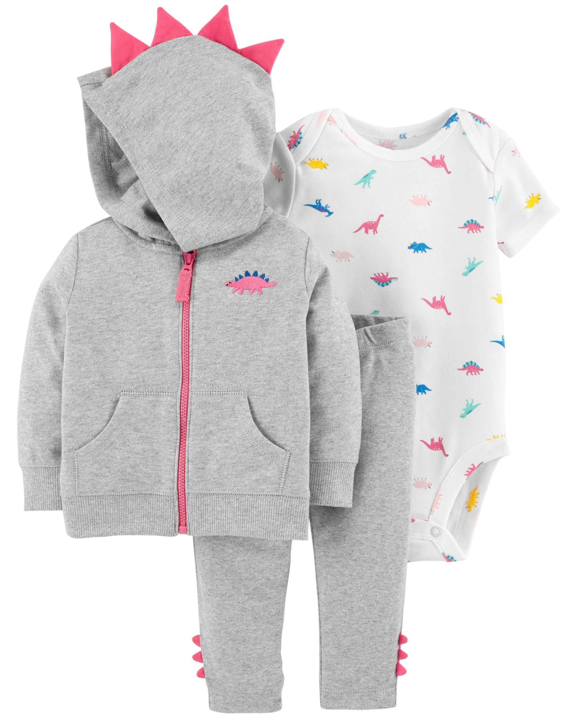 144a66dff Featuring a dinosaur bodysuit, coordinating spike pants and a zip-up spike  jacket, this 3-piece set lets your baby dinosaur layer up or layer down all  year ...