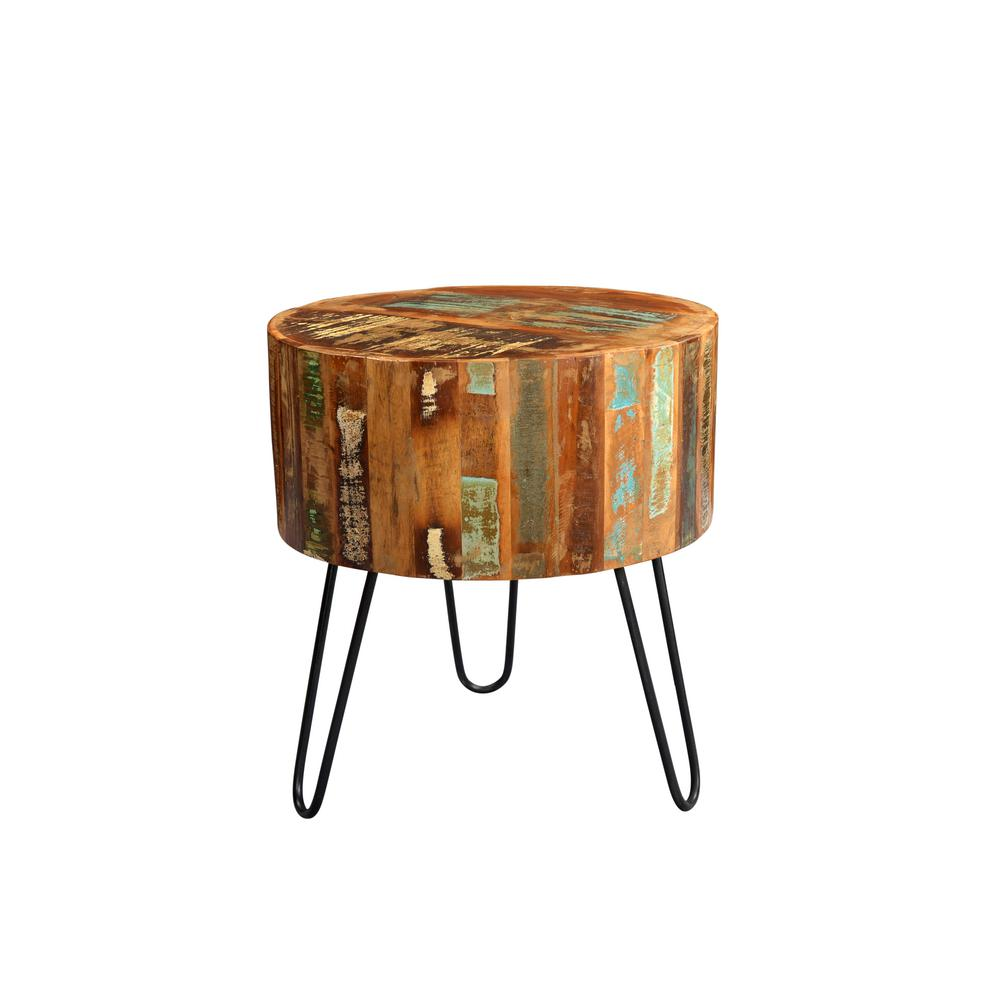 Tulsa Multi Colored Reclaimed Wood Round End Table With Hairpin Legs 05 114 01 1090a Wood Rounds End Tables Wood End Tables