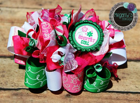 Country Girl Funky Loopy Bow  Country Girl bow  by MeganWsBowtique