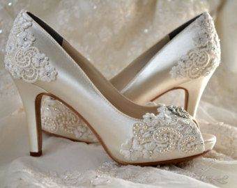 Charmant Wedding Shoes   Custom 120 Color Choices  Vintage Wedding Lace Peep Toe 3  Heels, Womenu0027s Bridal Shoes On Etsy,