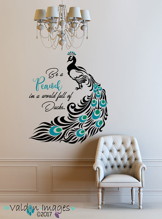 Superb Peacock, Quote Decal, Peacock Feathers, Peacock Decor, Peacock Wall Decal,  Quote Decal, Peacock Wall Art, Inspirational Quote Decal, Birds
