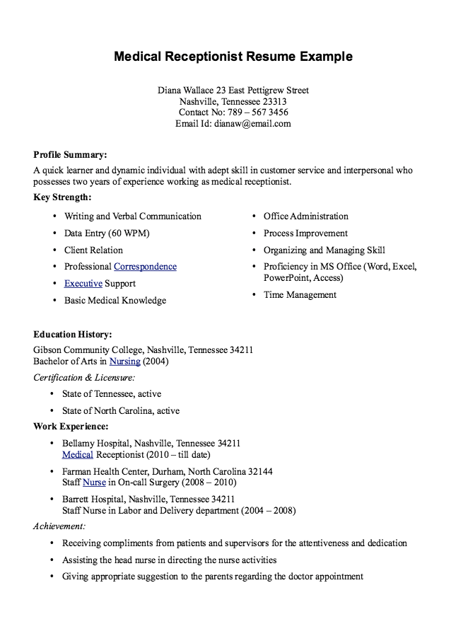Resume For Medical Receptionist Medical Receptionist Resume Example  Httpexampleresumecv