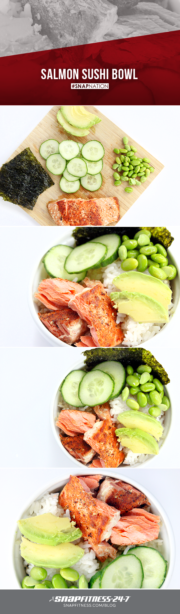 Sushi bowls can be just as delicious as sushi rolls (and much easier to prepare at home)! Whip up this great salmon, avocado, cucumber Sushi Bowl today.