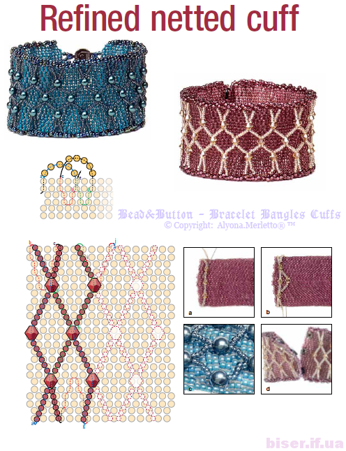 Beaded Bracelets master class, detailed diagrams of beads ... Embellished 2-drop Peyote