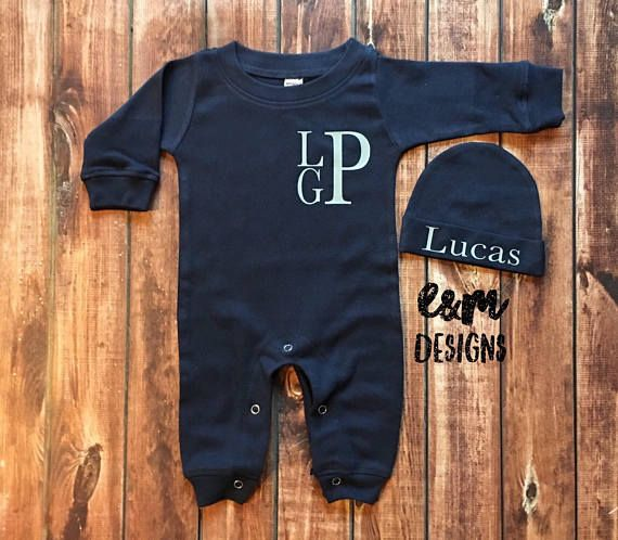 Baby Boy Gray and White Sleeper Set Newborn Monogrammed Romper Boy Take Home Set Baby Boys Coming Home Outfit Newborn Layette Set