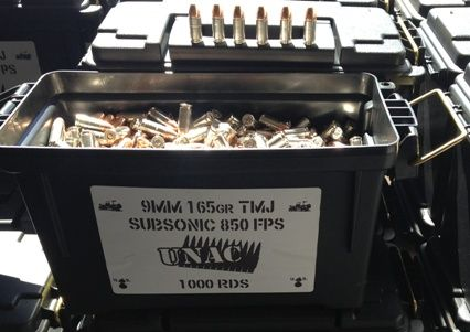 9MM SubSonic 165 TMJ 850 FPS 1000rds, Nickel Cases  The Quietest