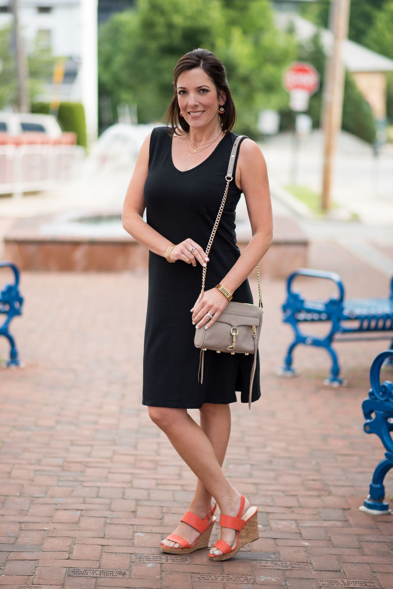Casual Black Dress With Converse Or Wedge Sandals Black Dresses Casual Dress With Converse Black Dress Outfit Casual [ 1920 x 1282 Pixel ]