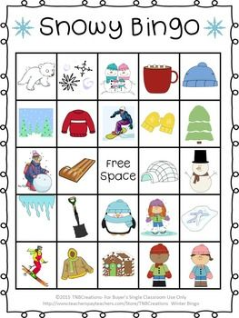 image regarding Winter Bingo Cards Free Printable identified as Wintertime Bingo TNBCreations upon TPT! Wintertime crafts for small children