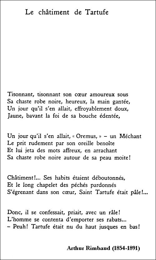 Arthur Rimbaud - Le châtiment de Tartufe Poésie Pinterest - financial advisor assistant sample resume