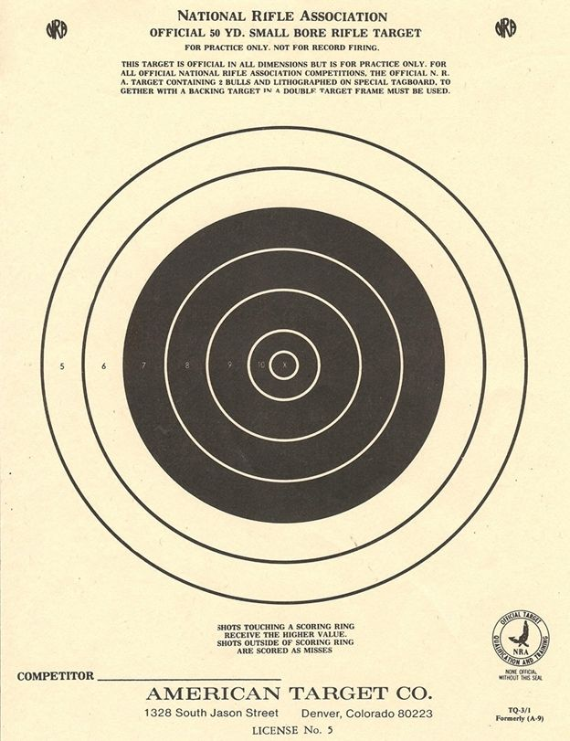 NRA 50 Yd  Small Bore Rifle Target   Illustration / Design   Paper