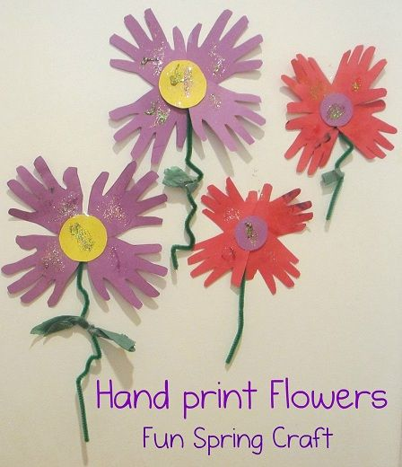 Hand print flowers- We decorated our windows with these to ...