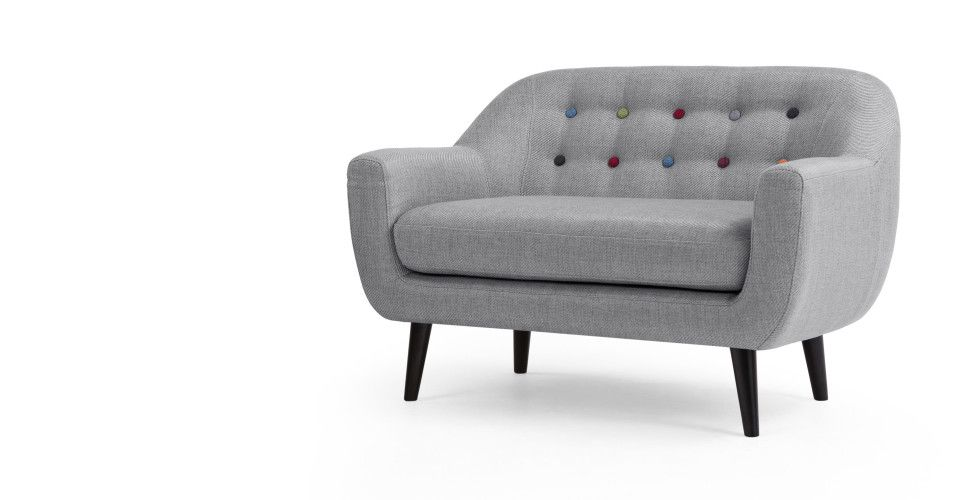 Mini Ritchie 2 Seater Sofa, Pearl Grey With Rainbow Buttons   Made.com