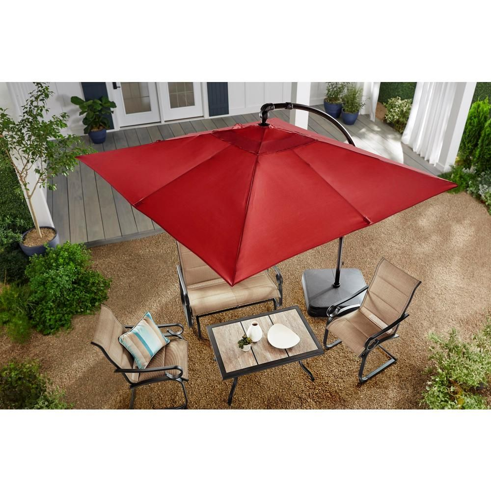 Hampton Bay 8 Ft Square Aluminum Cantilever Offset Outdoor Patio Umbrella In Chili Red Yjaf 037 E Patio Umbrella Outdoor Patio Umbrellas Patio