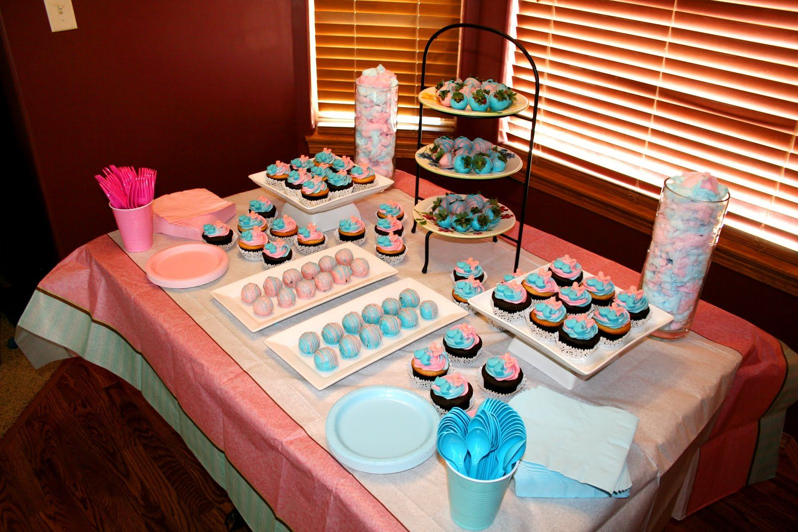 Gender Reveal Party Dessert Table Cupcakes Cake Balls