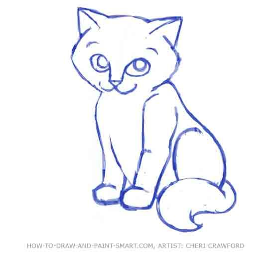 How Do You Draw A Warrior Cat How To Draw A Cat Face Step 8 Cute
