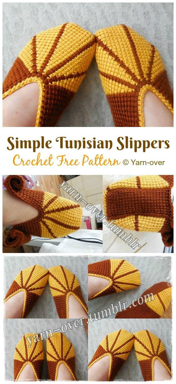 Simple Tunisian Slippers Crochet Free Patterns - Crochet & Knitting