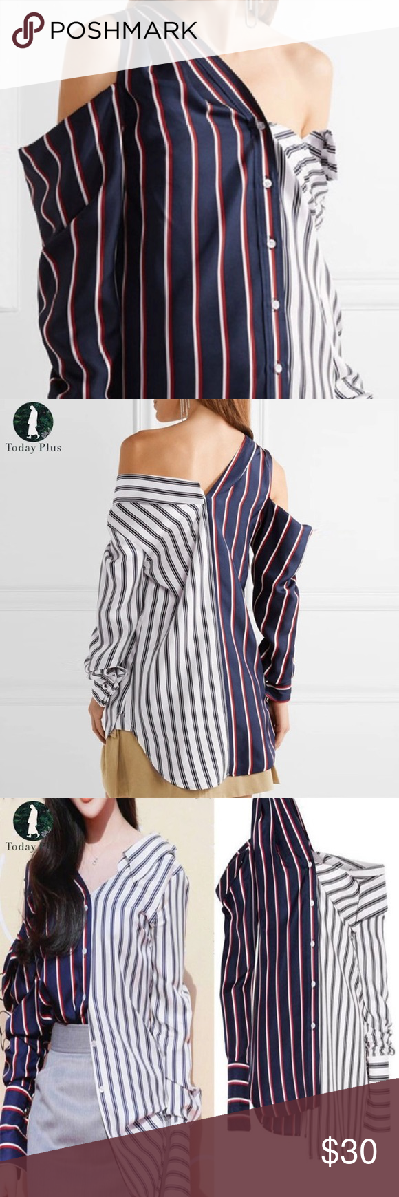 a48233f88c6c06 CHIC ASSYMETRICAL BLOUSE SO CHIC RED WHITE AND BLUE STRIPE ASSYMETRICAL  BLOUSE. One side is