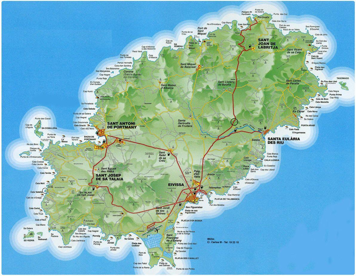 Spagna Ibiza Cartina Geografica.Mappa Ibiza Cartina Di Ibiza Ibiza Mappa Vacanze