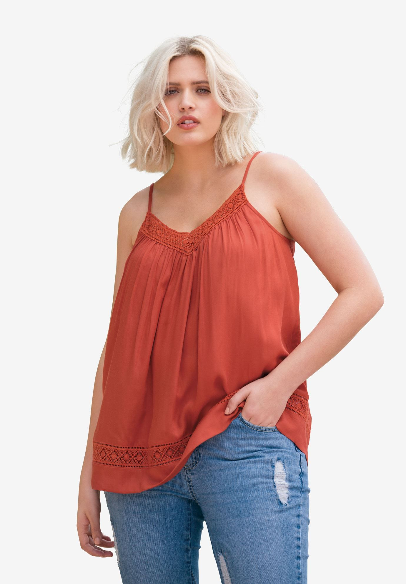 fd1ae91ee2d17 Shop for Crochet Lace Trim Tank Top and more Plus Size Tees   Tanks from  Ellos.
