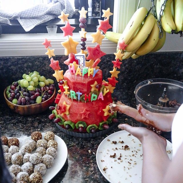 Preping the fruit cake and party food for Rowdys 1st Birthday