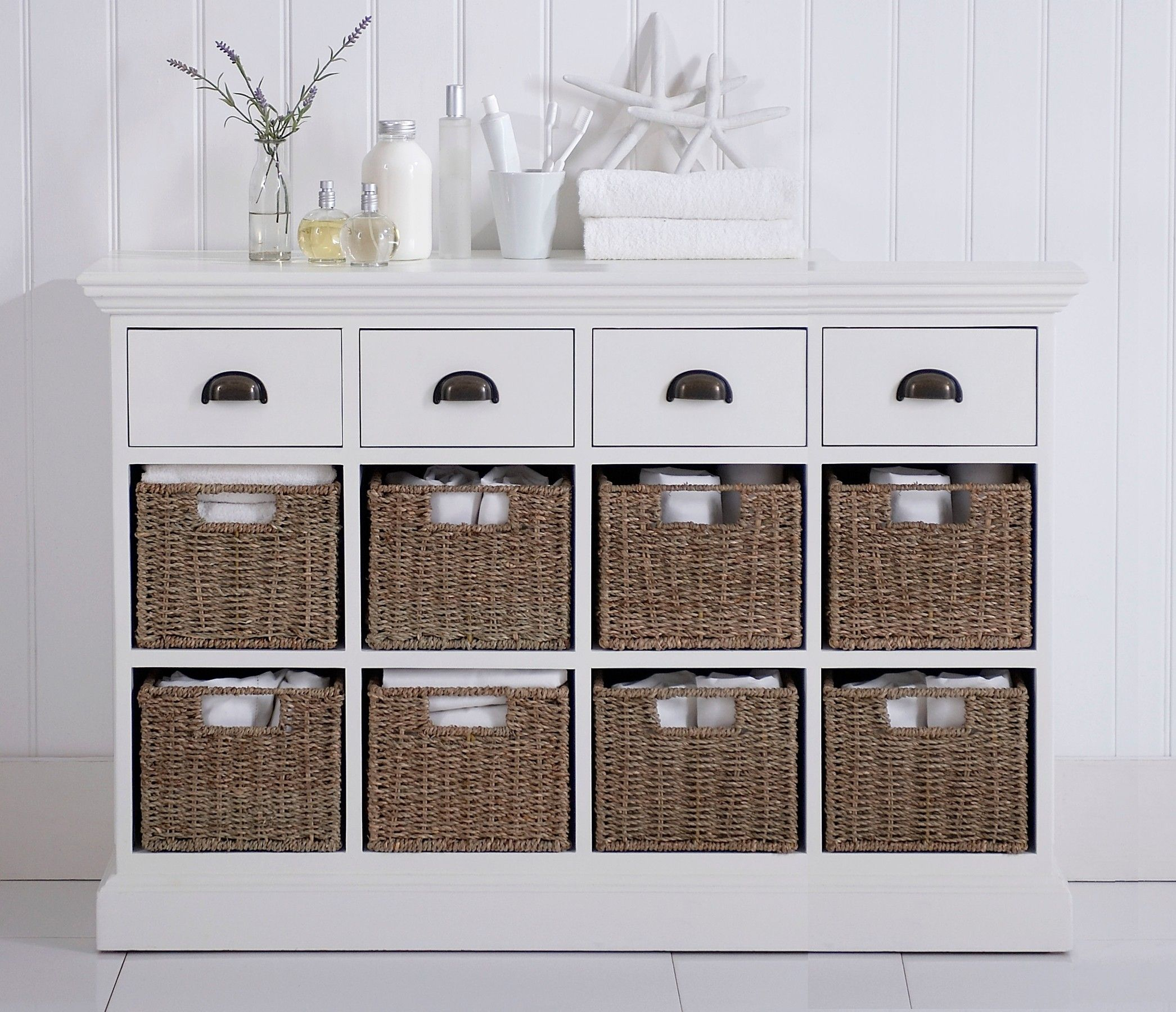 Genial Wicker WHITE HAND PAINTED 8 4 BASKET STORAGE UNIT | Furniture4yourhome