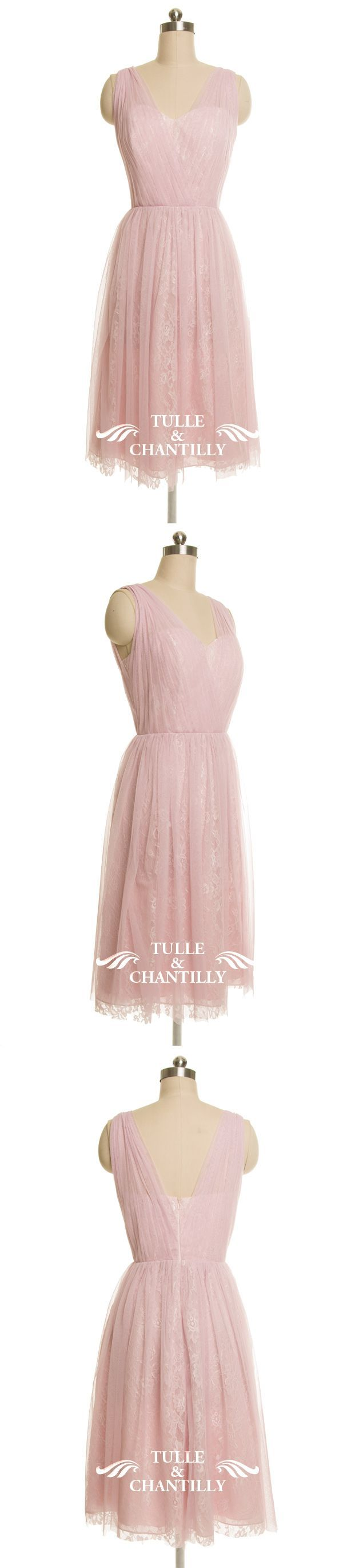 Pink cocktail dress for wedding  Sheer Sweetheart Tulle Knee Length Bridesmaids Dresses with Straps