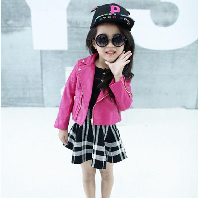 4904f5b31ce9 Spring Kids Leather Jacket Girls Jacket Children PU Leather Coats ...