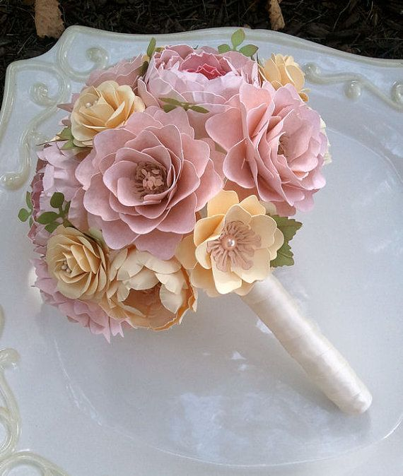 Paper Flower Wedding Bouquet | This Listing For A Single Custom Designed Bridal Bouquet Diameter