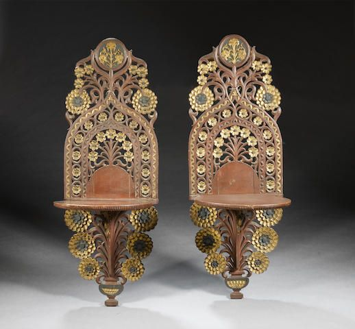 A pair of Ottoman gilt decorated painted wood Turban Stands (kavukluk) Turkey, 19th Century(2)