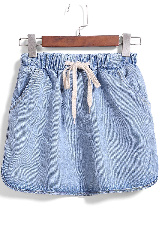 061d553676a Shop Blue Drawstring Waist Denim Skirt online. SheIn offers Blue Drawstring  Waist Denim Skirt &