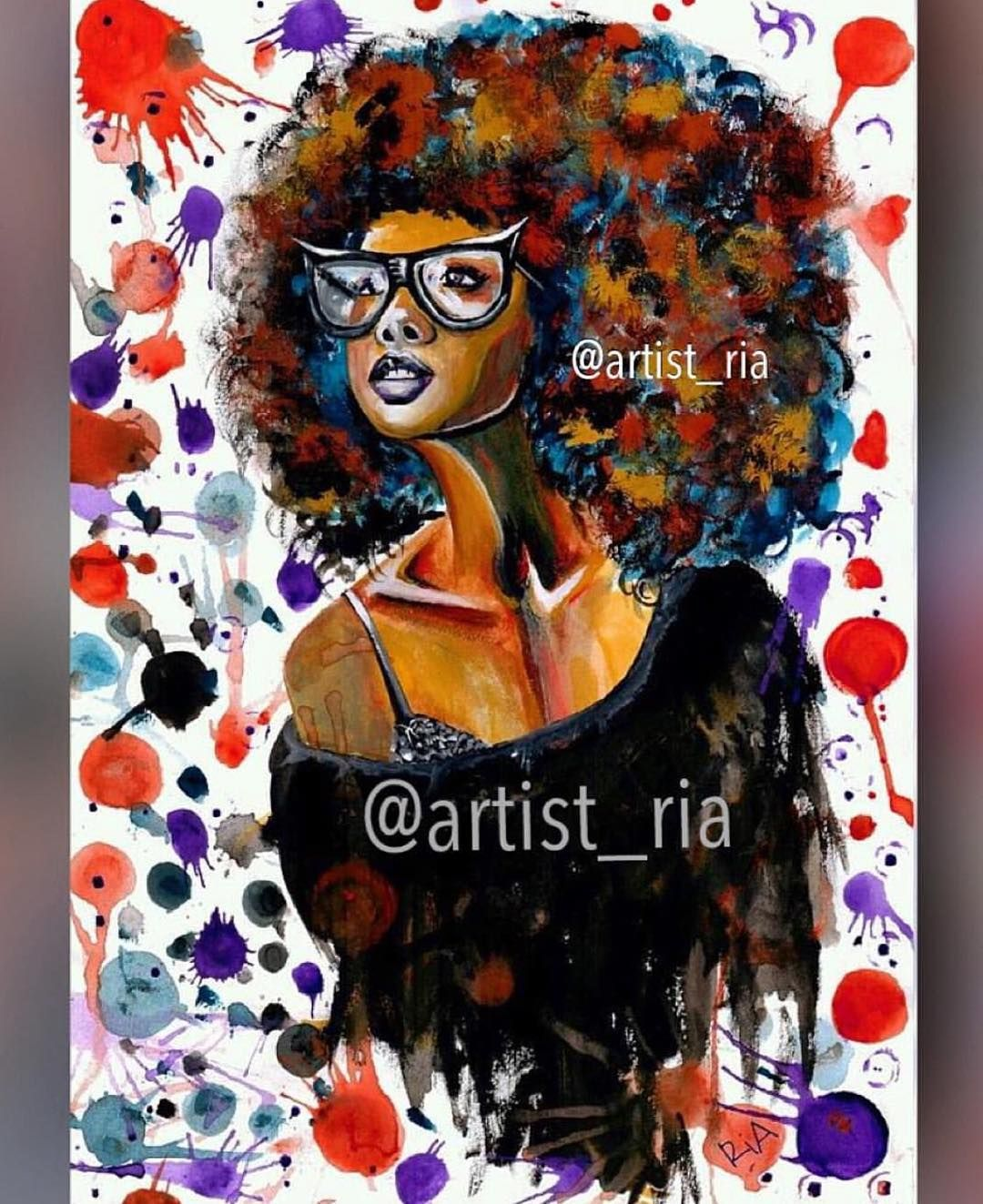 """""""Dope Chic!"""" - Painting by me with gouache & acrylic! This was My 1st painting...done in 2012... #artistria #artbyria #tbt by artist_ria"""