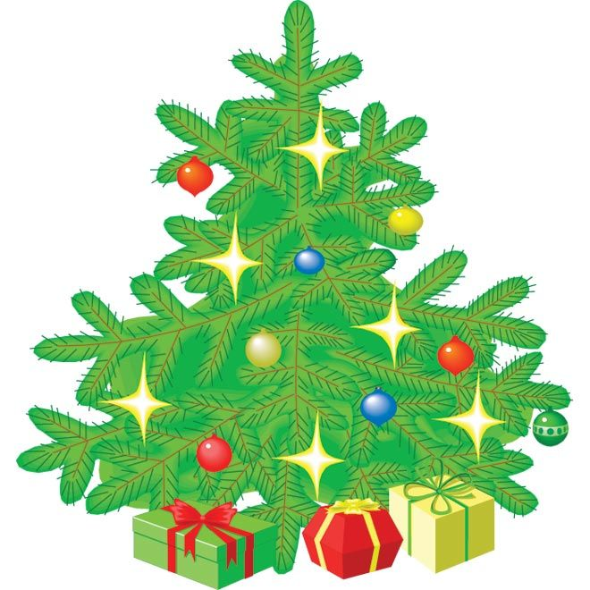 Vector Cute Christmas Gift Tree Clip Art