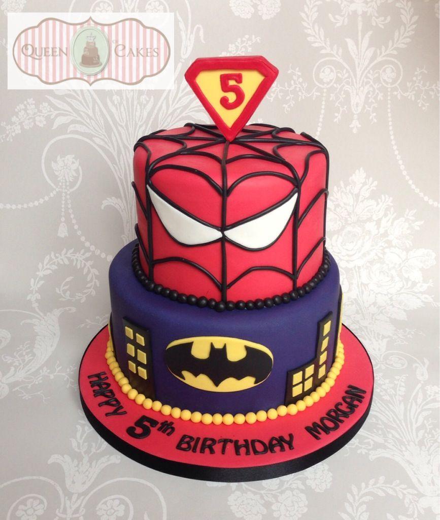 Superhero Batman Spiderman 5th Birthday Cake By Queen Of Cakes