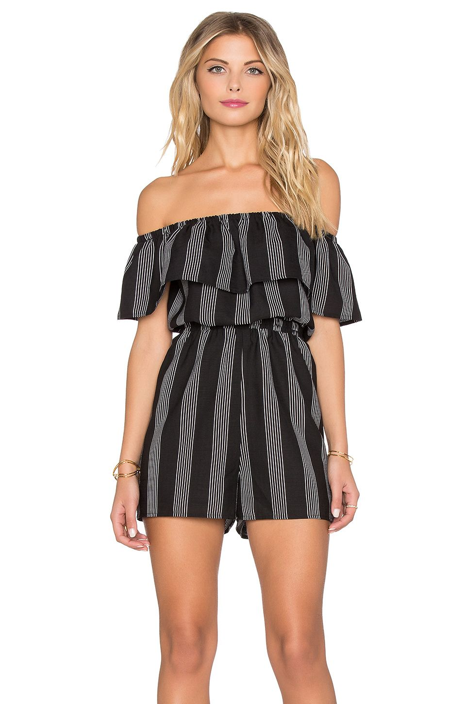 de8c9baa52a407 Lucca Couture Striped Off Shoulder Romper in Black & White Stripes ...
