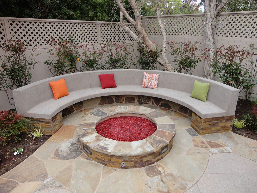 Fire pits stone fire pit and bench gemini 2 landscape for Garden design kits