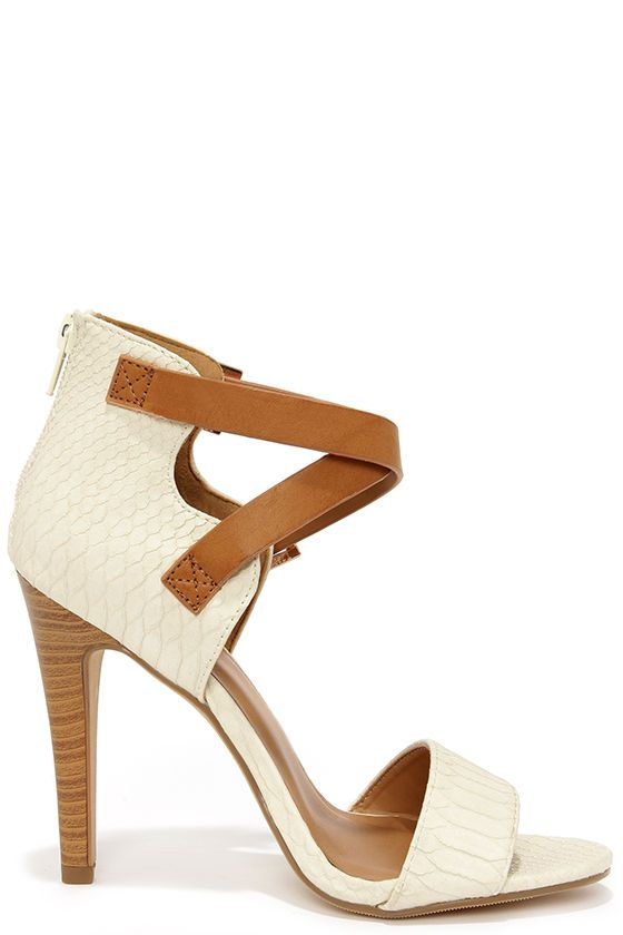 Latest and Greatest Beige and Tan Snakeskin Ankle Strap Heels ...