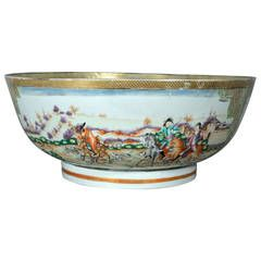 Chinese Export Famille Rose Fox Hunt Bowl with European Figures