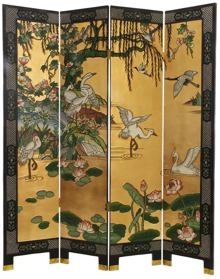 "4 Panel ""Cranes"" Gold/Black Chinese Lacquer Screen/Room"