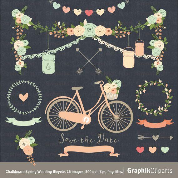 Chalkboard Spring Wedding Bicycle.