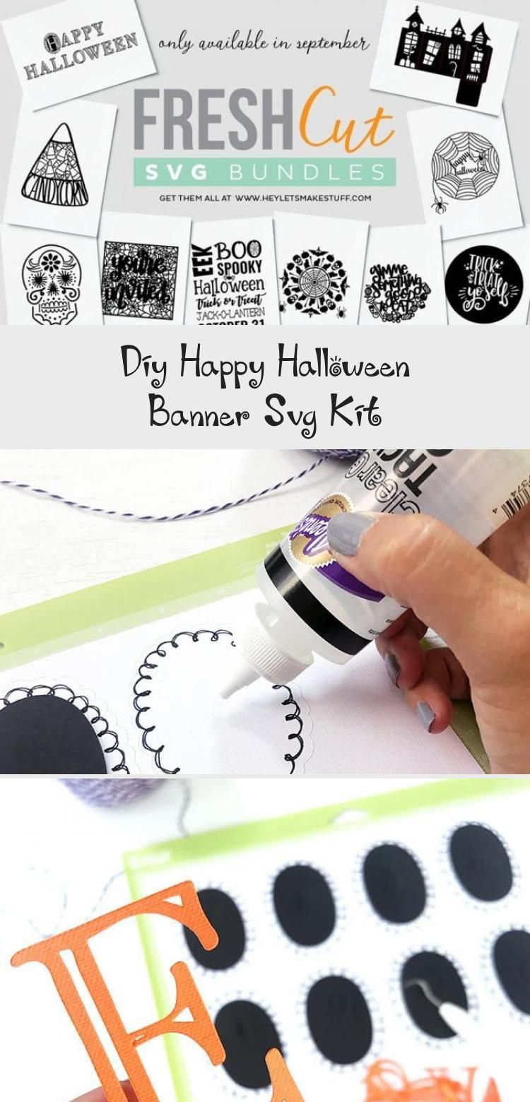 DIY Happy Halloween Banner SVG Kit - 100 Directions #Summerbanner #Websitebanner #bannerCaderno #bannerBulletJournal #Productbanner #happyhalloweenschriftzug