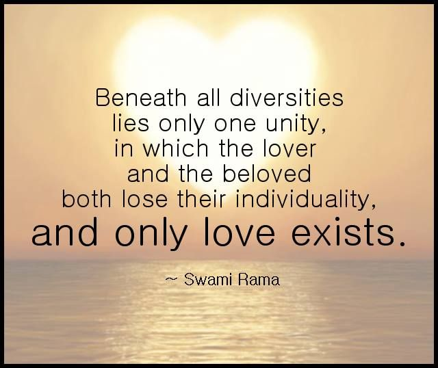 Beneath all diversities lies only one unity, in which the
