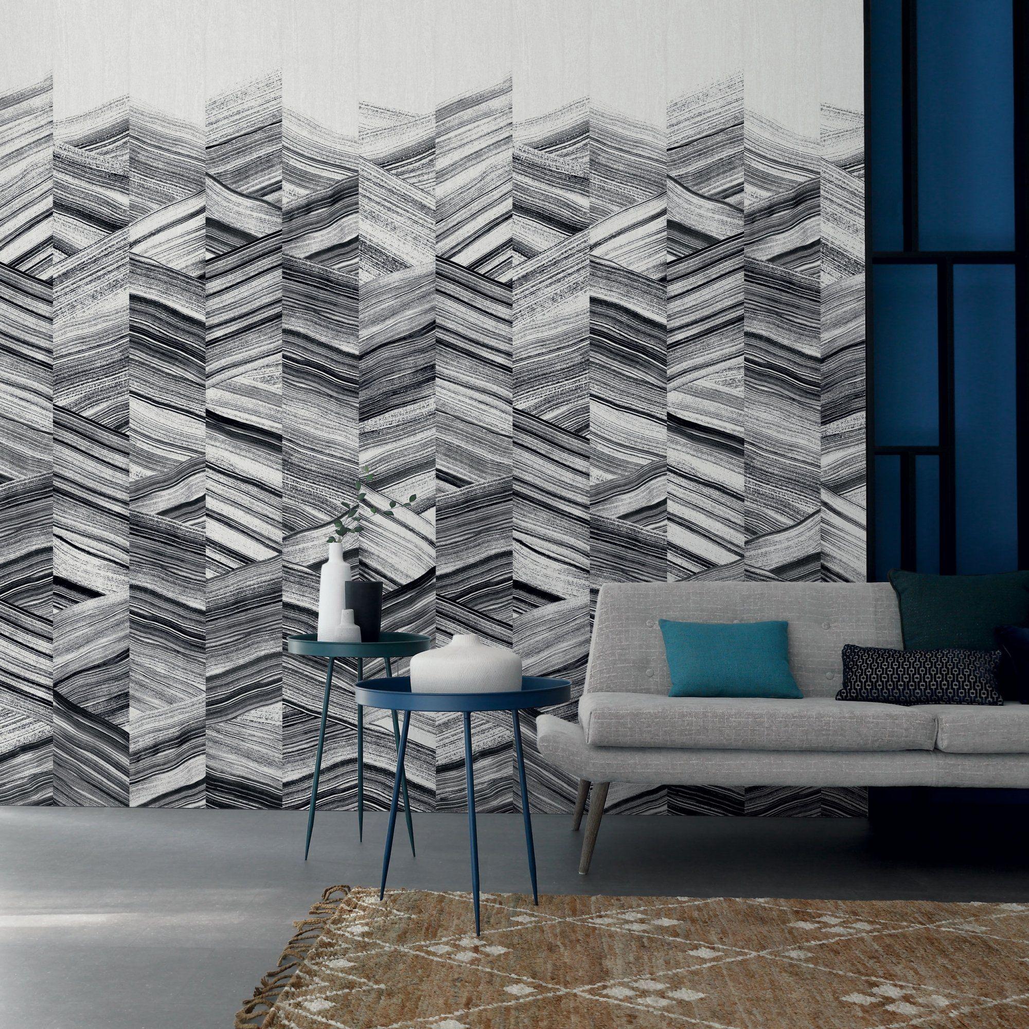 papier peint graphique et original en noir et blanc pour le salon ...