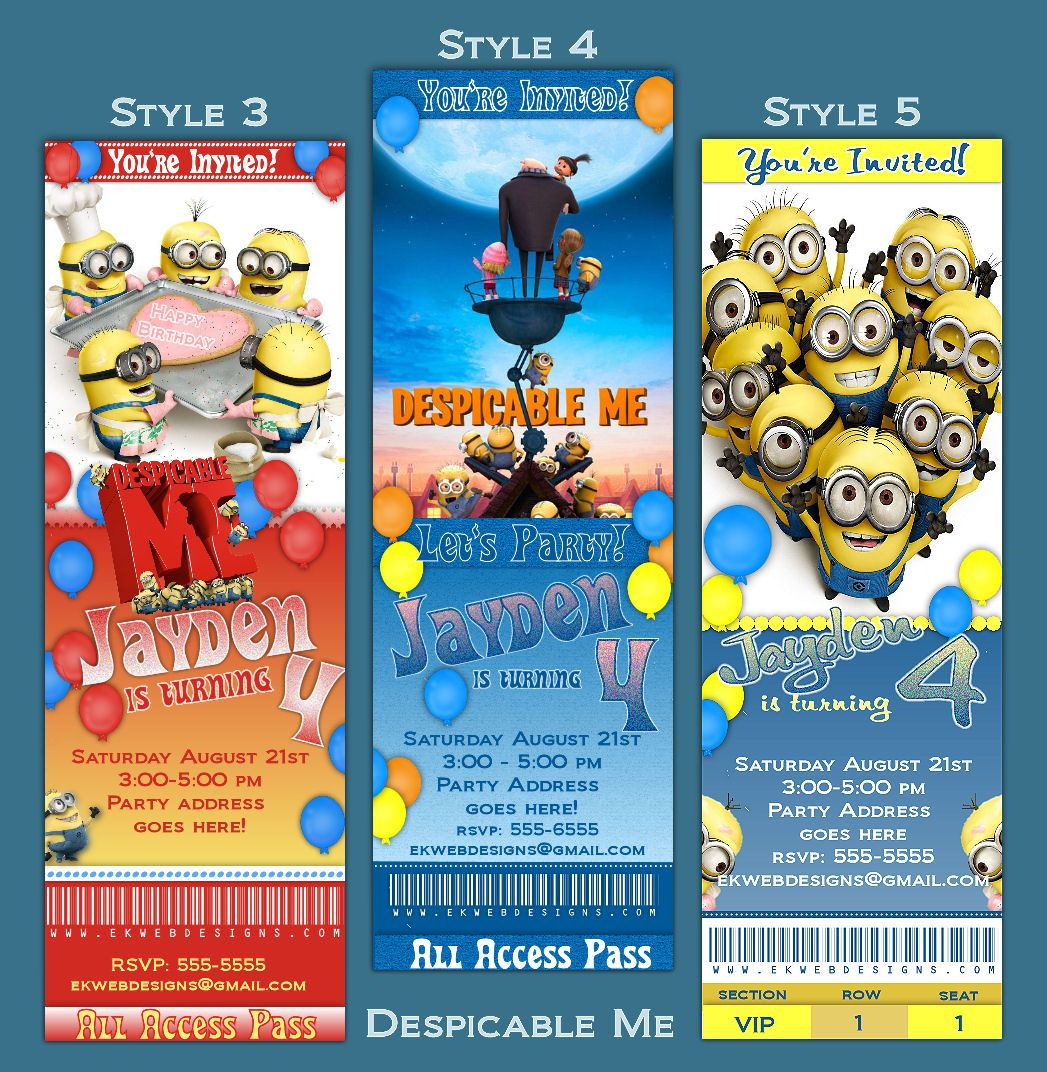 Personalized Despicable Me ticket style Birthday Invitation | Party ...