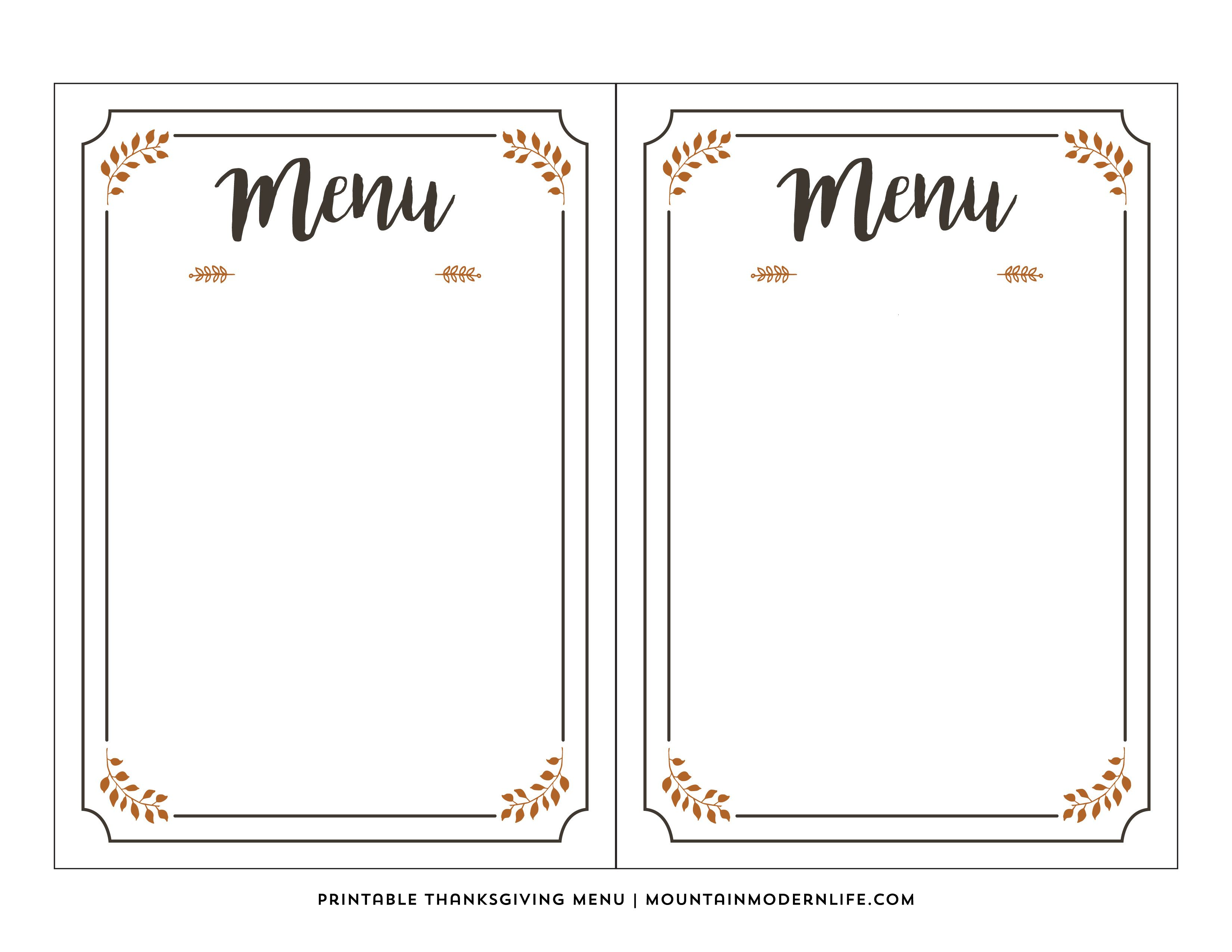 This is a picture of Printable Menu Template inside summer wedding