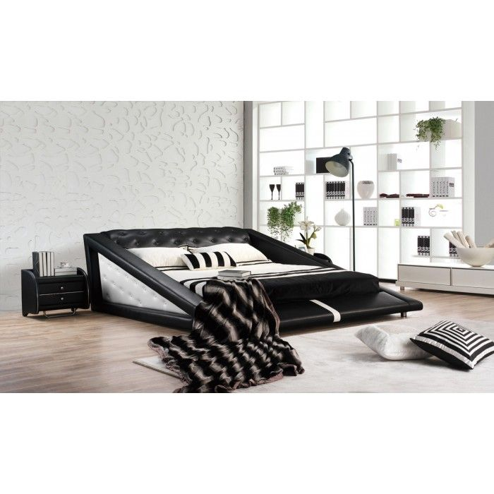 The Modrest Modern Black U0026 White Bonded Leather Bed Injects Comfort And  Style Featuring A Triangular Side Elevated Design And Upholstered In Black