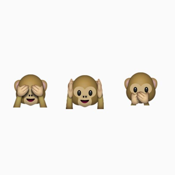 Hear no evil speak no evil see no evil emoji monkey sticker