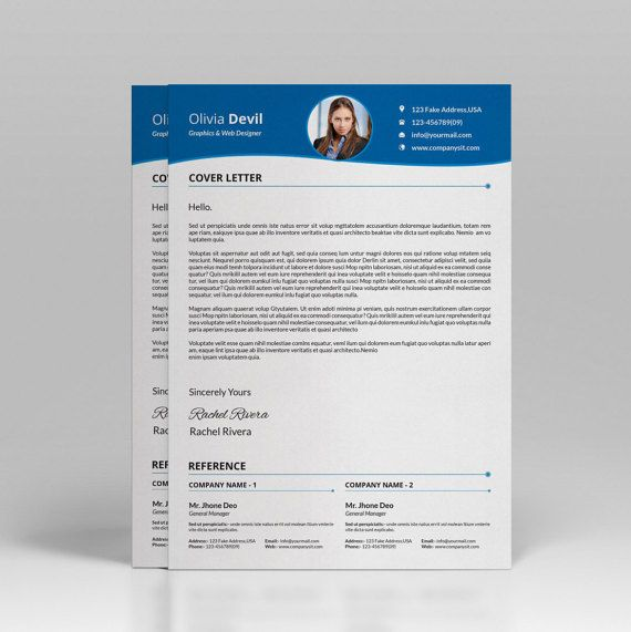 Resume template CV template One Page resume Word resume - word cover letter template