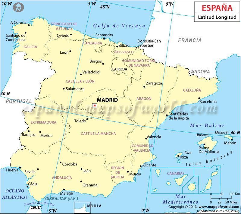 Latitud Y Longitud De Espana Coordenadas Geograficas De Espana Latitud Y Longitud Espana Coordenada Geografica