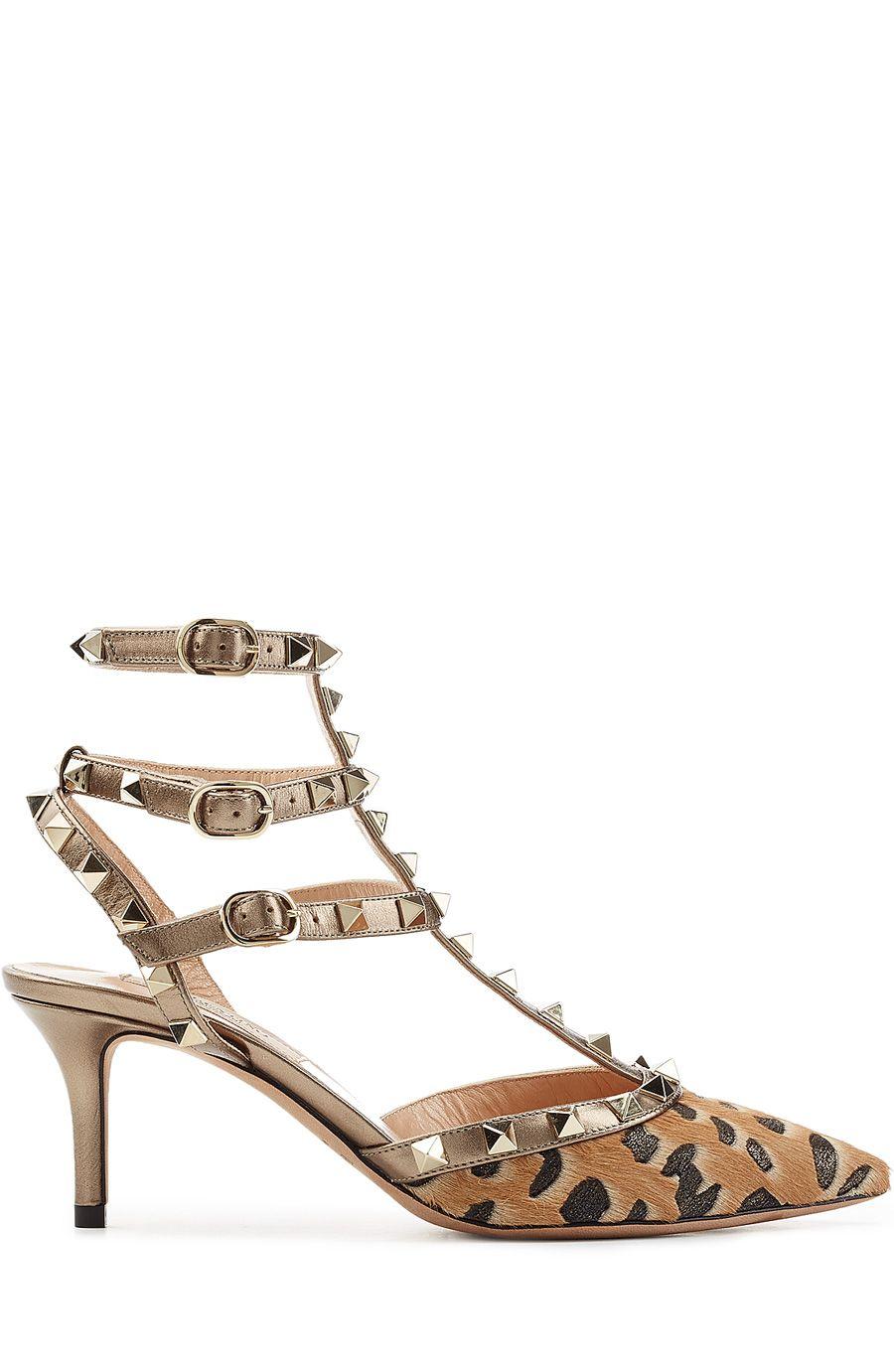 eb20680cff4 VALENTINO Rockstud Leather And Pony Hair Kitten Heel Pumps.  valentino   shoes  kitten heels